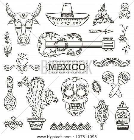 Set of Mexican traditional and cultural elements.