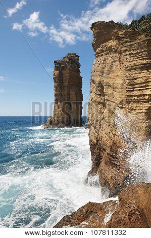 Azores Rocky Coastline Cliffs Landscape In Ilheu Da Vila. Portugal