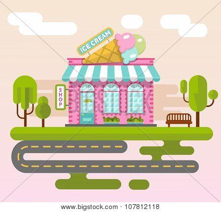 City landscape with ice cream shop