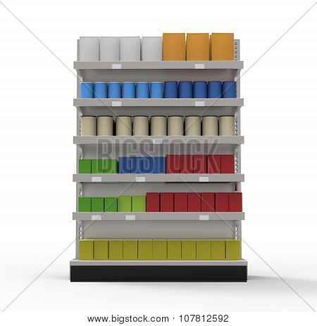 Supermarket Shelves Filled With Blank Products Isolated