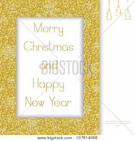 Christmas greeting card. Golden Frame