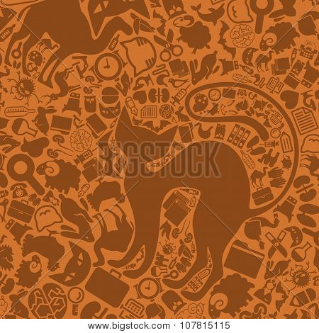 vector background of the veterinary icons