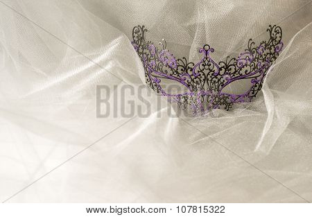 Colorful Venetian Face Mask on Grey Tulle Fabric
