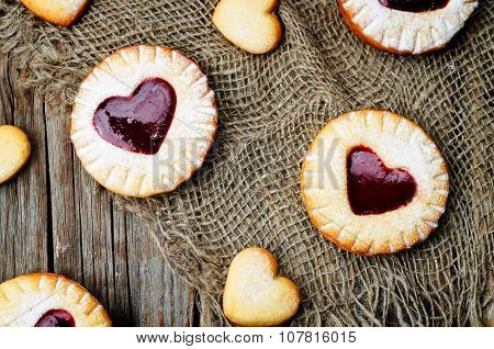 Shortbread With The Shape Of A Heart And Berry Jam