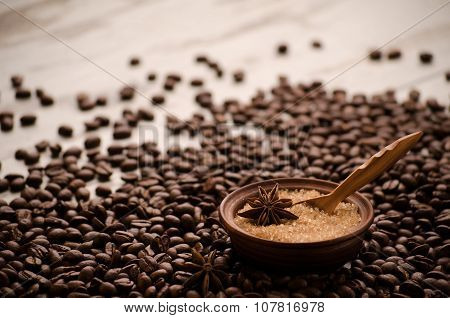 Sugar In A Porringer Stands On A Table On Grains Of Coffee