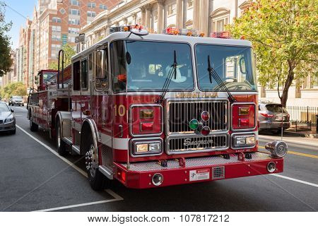 USA, WASHINGTON - 31 AUG, 2014: Firetruck is standing on the street.