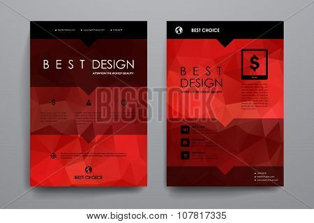 Set of brochure, poster design templates in polygonal style