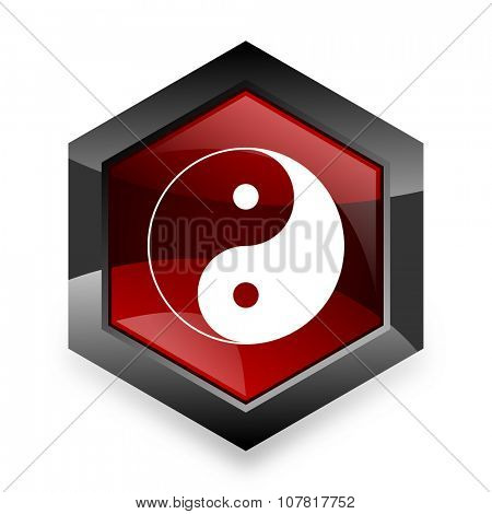 ying yang red hexagon 3d modern design icon on white background