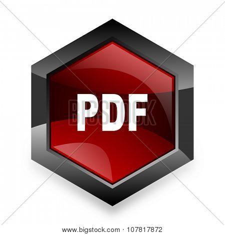 pdf red hexagon 3d modern design icon on white background
