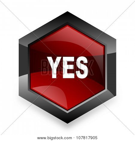 yes red hexagon 3d modern design icon on white background