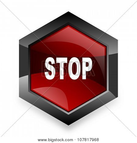 stop red hexagon 3d modern design icon on white background
