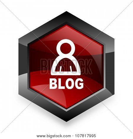 blog red hexagon 3d modern design icon on white background