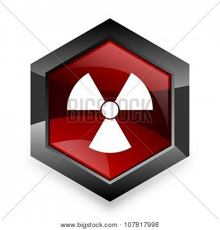radiation red hexagon 3d modern design icon on white background