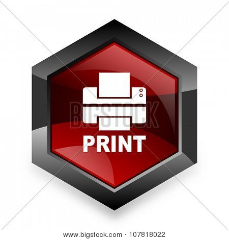 printer red hexagon 3d modern design icon on white background