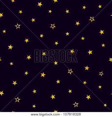 Gold Stars On A Purple Background. Seamless Pattern