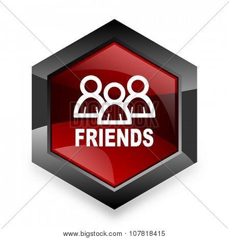 friends red hexagon 3d modern design icon on white background