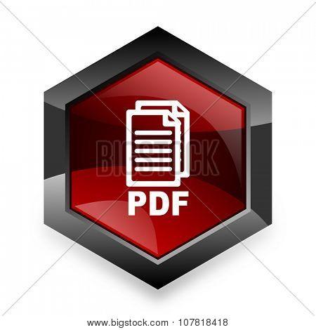 pdf red hexagon 3d modern design icon on white background ,