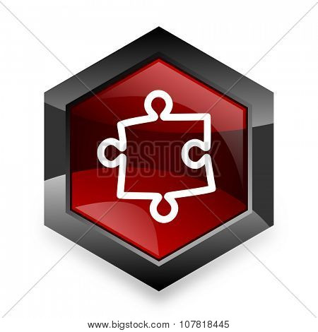 puzzle red hexagon 3d modern design icon on white background