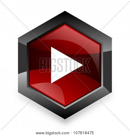 play red hexagon 3d modern design icon on white background