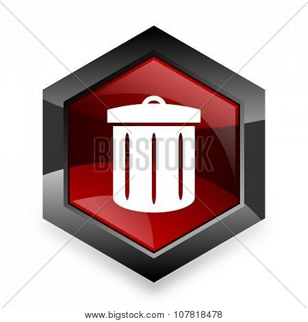 recycle red hexagon 3d modern design icon on white background