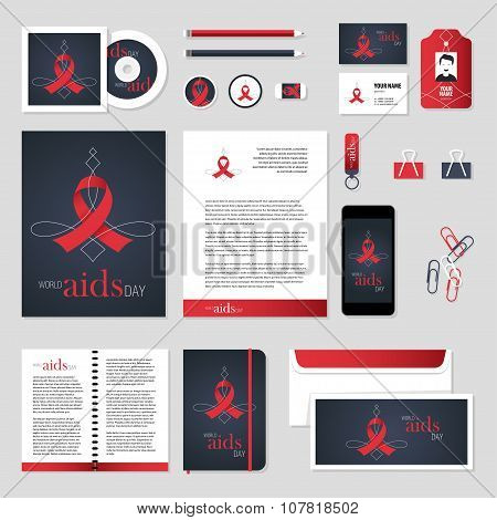Vector Stationery Template Design With Aids Ribbon Elements.