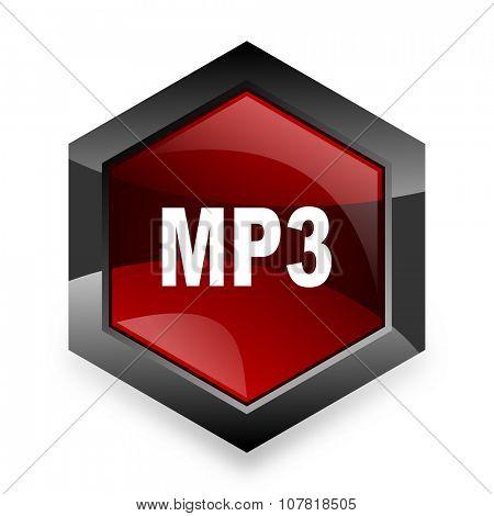mp3 red hexagon 3d modern design icon on white background