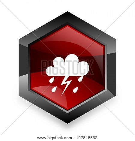 storm red hexagon 3d modern design icon on white background