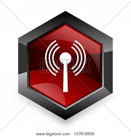 wifi red hexagon 3d modern design icon on white background