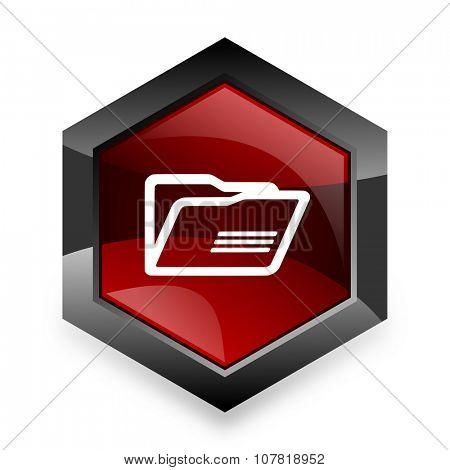 folder red hexagon 3d modern design icon on white background
