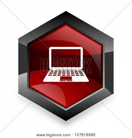 computer red hexagon 3d modern design icon on white background