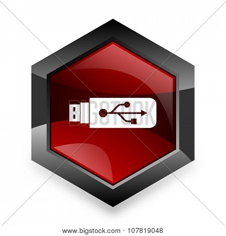 usb red hexagon 3d modern design icon on white background