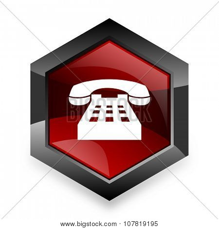 phone red hexagon 3d modern design icon on white background
