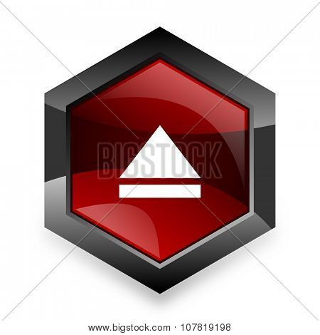 eject red hexagon 3d modern design icon on white background