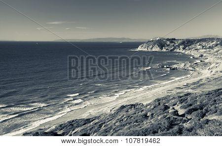 Atlantic Ocean In Summer. Monochrome Photo