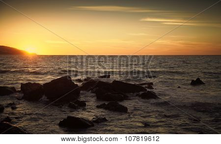 Coastal Stones And Sea Water At Sunset, Morocco