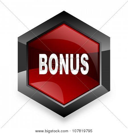 bonus red hexagon 3d modern design icon on white background