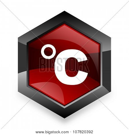 celsius red hexagon 3d modern design icon on white background