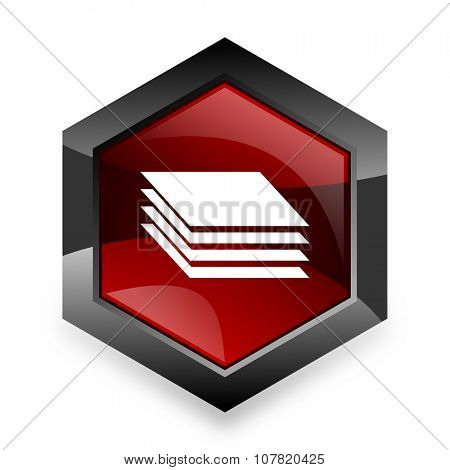 layers red hexagon 3d modern design icon on white background
