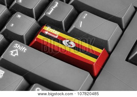 Enter Button With Uganda Flag