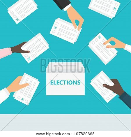 People hands holding ballot paper and putting them into ballot box. Elections and voting illustratio