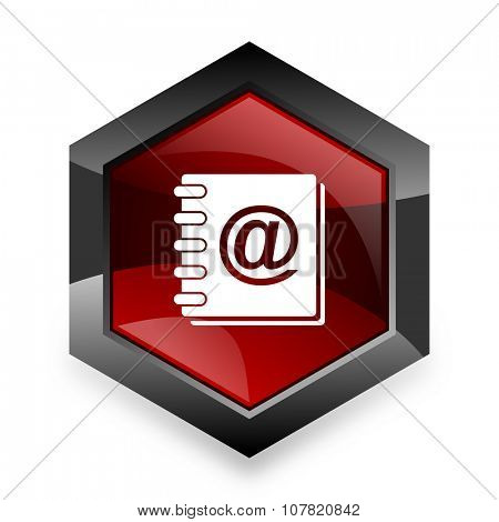 address book red hexagon 3d modern design icon on white background