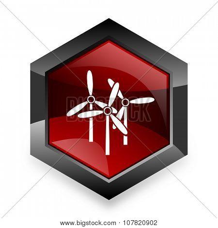 windmill red hexagon 3d modern design icon on white background