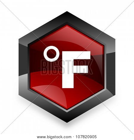 fahrenheit red hexagon 3d modern design icon on white background