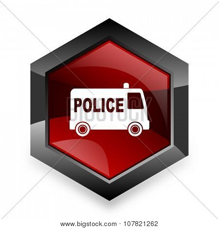 police red hexagon 3d modern design icon on white background