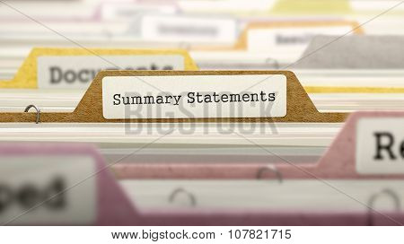 Summary Statements Concept on Folder Register.