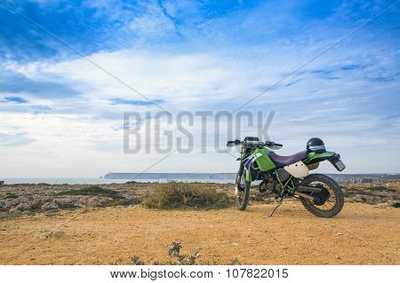 Enduro Motorbike On The Rock In Sagres, Portugal