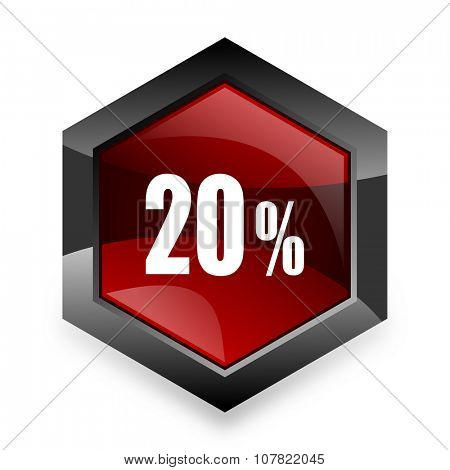 20 percent red hexagon 3d modern design icon on white background