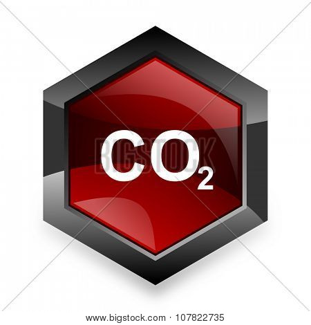 carbon dioxide red hexagon 3d modern design icon on white background