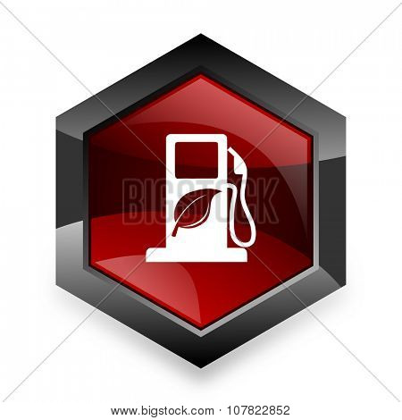 biofuel red hexagon 3d modern design icon on white background