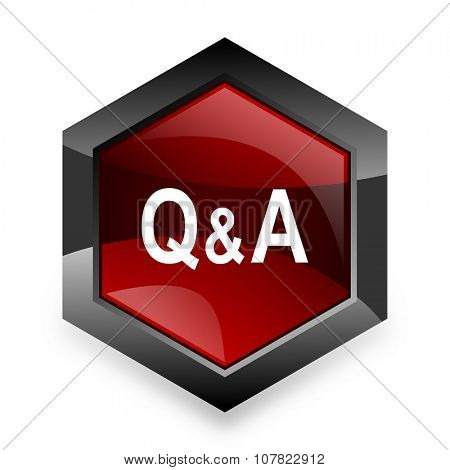 question answer red hexagon 3d modern design icon on white background